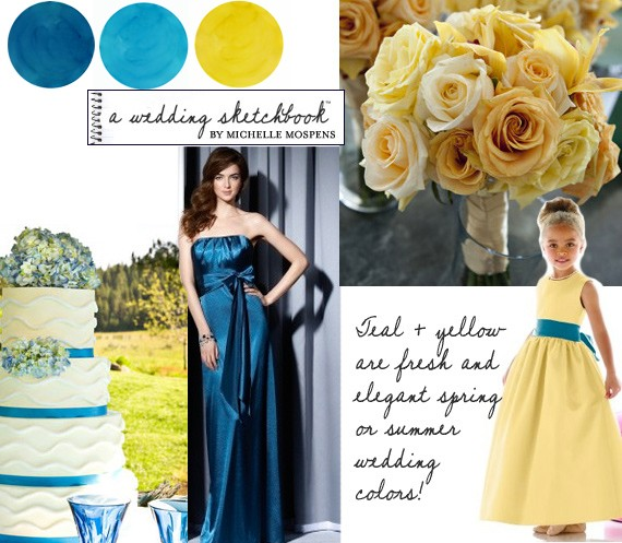 Teal + Yellow Wedding Colors | Custom Watercolor Invitations ...