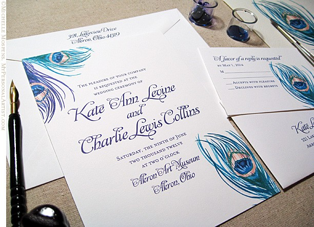 Peacock Feather Wedding Invitation: Peacock-feather-invitations