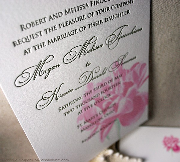 Wedding Invitation Thoughts: Wedding-invitations-letterpress-flower-pink