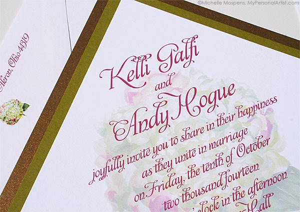 Layered Hydrangea Wedding Invitations