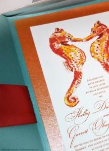 seahorses beach wedding invitations