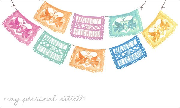 Colorful Papel Picado Invitation Design Custom Save The Dates