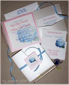 blue and pink hydrangea pocket folder wedding invitations