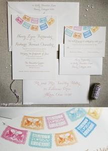 custom watercolor papel picado wedding invitations - Papel Picado Wedding Invitations