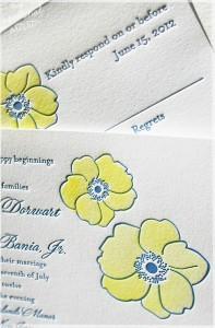 hand painted letterpress invitations