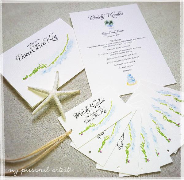 Unique Beach Wedding Place Cards