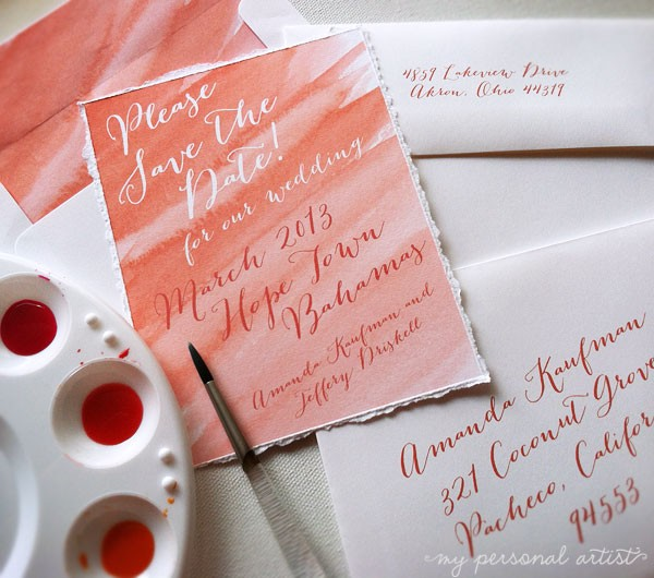 save the date cards with painted ombre watercolor