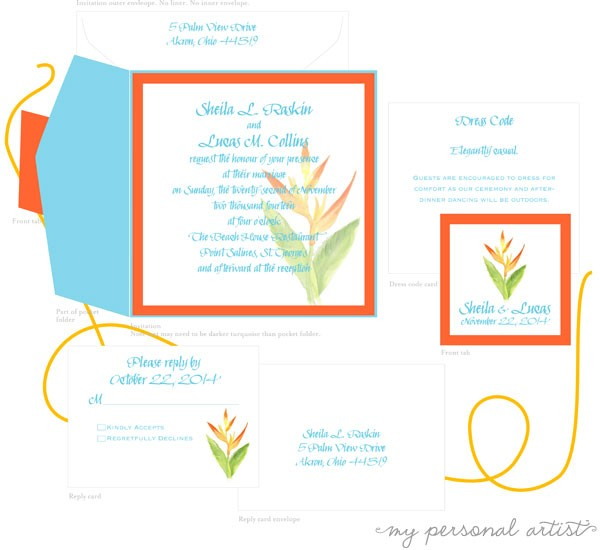 tropical flower wedding invitations pocket folder