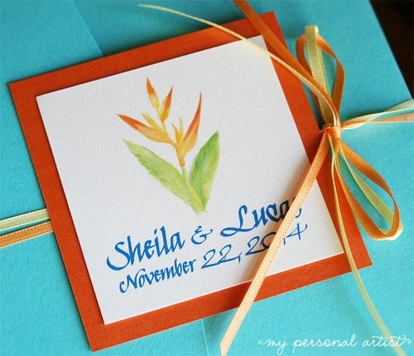 tropical wedding invitations with bow
