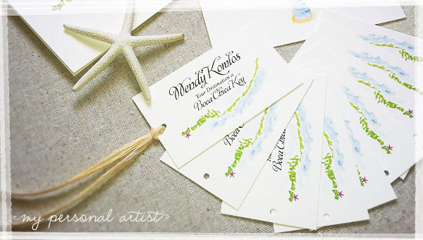 Beach Wedding Luggage Tag Cards