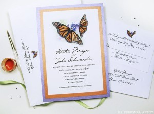Orange Purple Butterfly Wedding Invitations