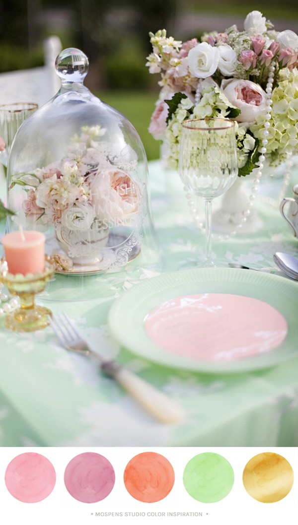 Mint green, peach, light pink, and gold wedding + party