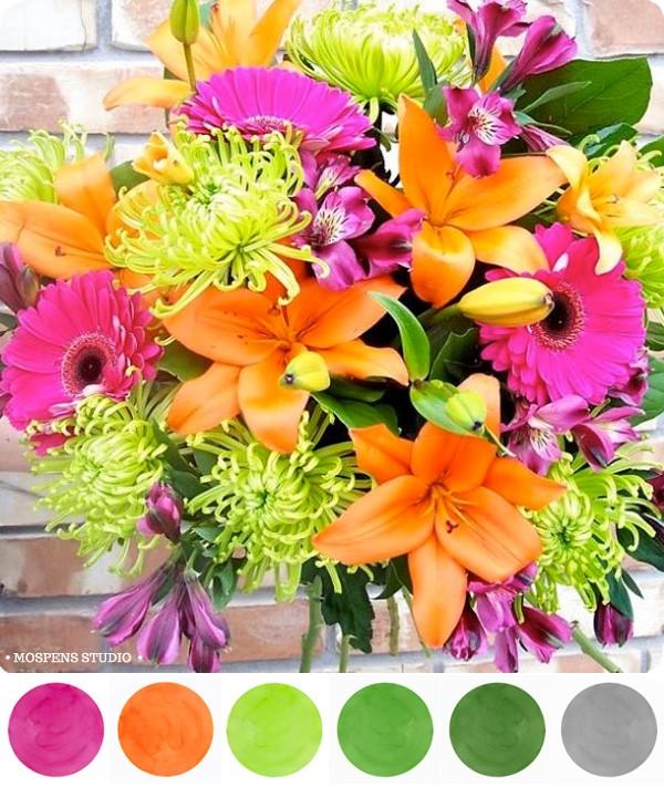 Pink Orange Green Wedding Ideas O MospensStudio O