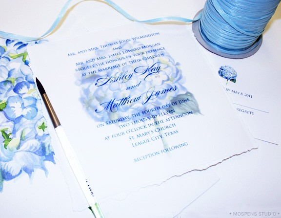 blue hydrangea flower wedding invitations