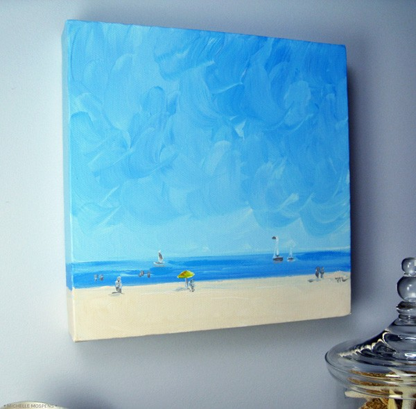Original art painting beach landscape painting by fine artist Michelle Mospens.