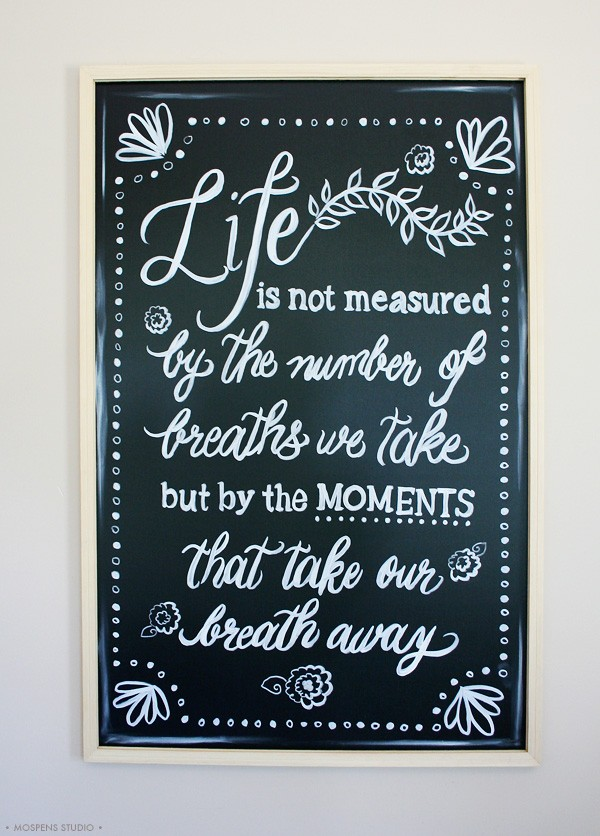 Chalkboard artist lettering by Michelle Mospens