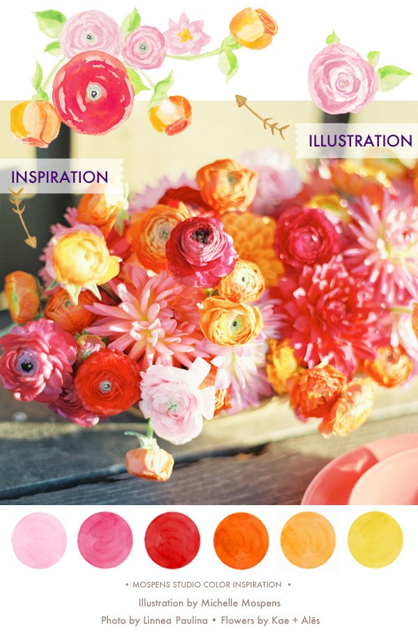 Summer wedding colors| Red Pink Orange Yellow | Mospens Studio