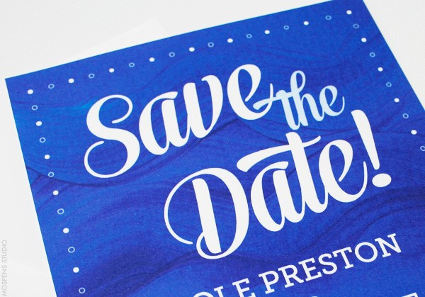 Painted Waves Nautical Save the Dates | Close Up | Mospens Studio