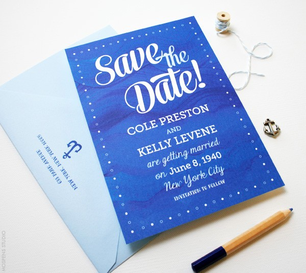 Blue Waves Nautical Save the Dates | Mospens Studio