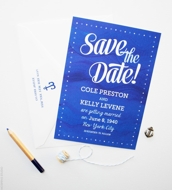 Painted Waves Nautical Save the Dates | Mospens Studio