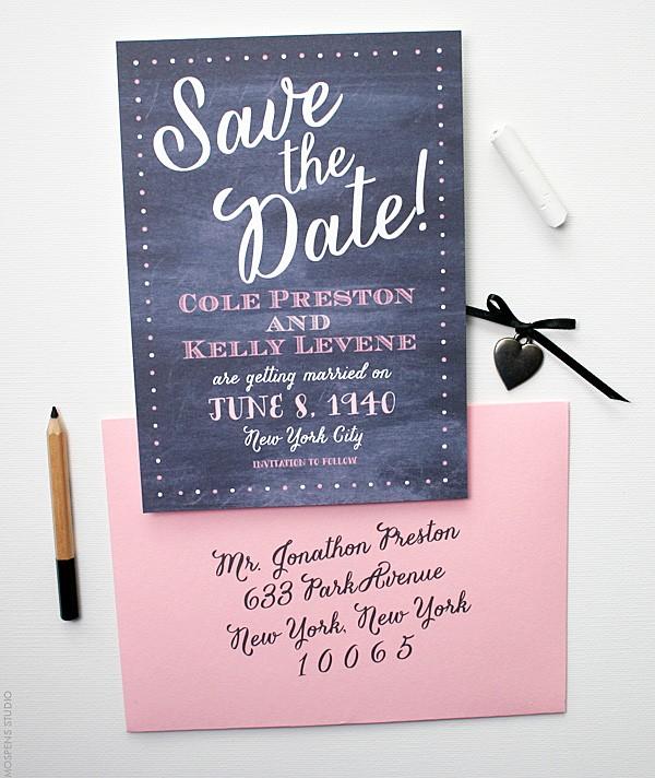 Beautiful Chalkboard Save the Date | Mospens Studio