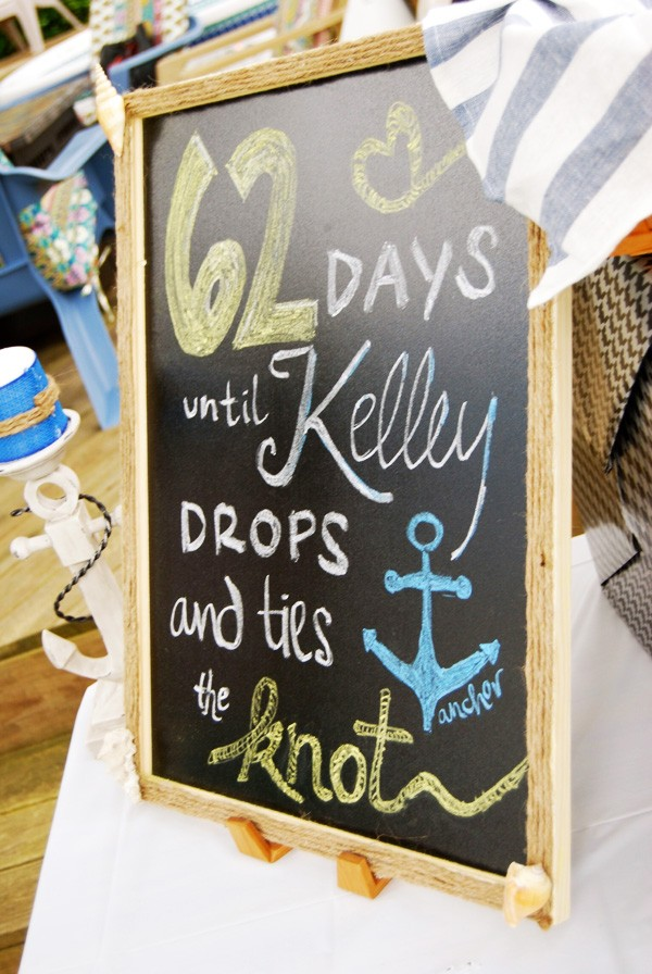 Nautical chalkboard for a bridal shower | Mospens Studio