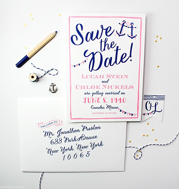 Tie the Knot Save the Date Nautical Theme | Mospens Studio