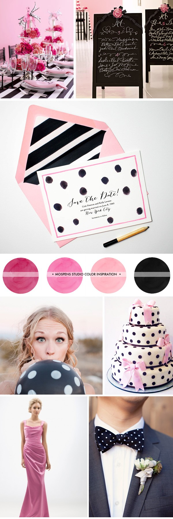 Pink, Black and White Wedding Ideas with Polka-Dots | Mospens Studio