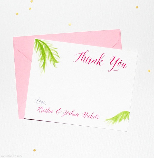 Beach Theme Thank You Cards | Hand-painted Palm Tree Fronds | Mospens Studio