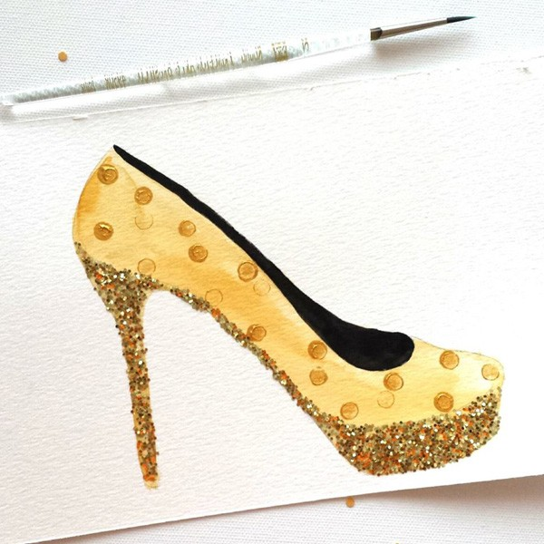 Gold hand-painted high heel shoe illustration| #tuesdayshoesday | Mospens Studio