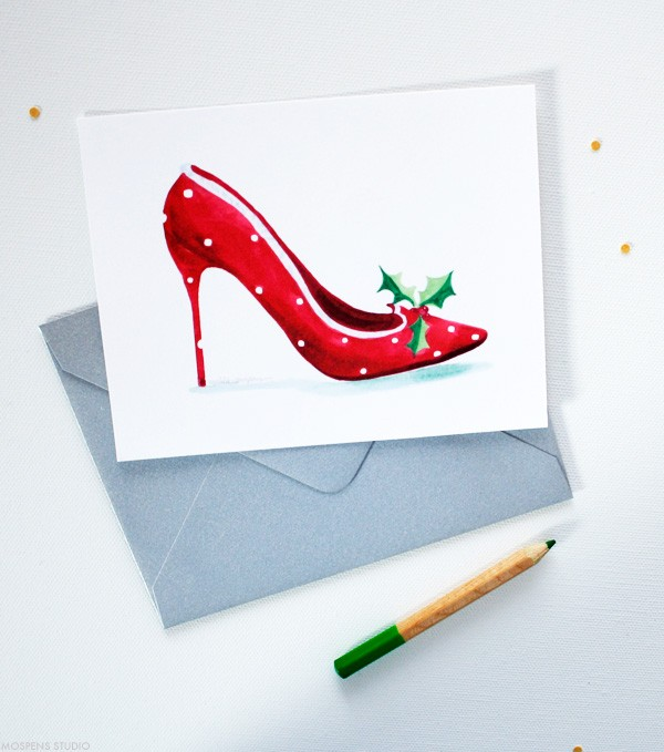 Christmas High Heel Note Cards | Mospens Studio