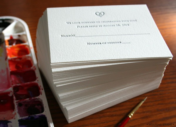 Letterpress + hand-painted rustic wedding invitations | Mospens Studio