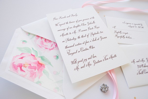 Elegant watercolor peony and love letter style wedding invitations | www.mospensstudio.com