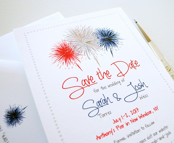 Fourth of July hand-painted fireworks save the dates | www.mospensstudio.com