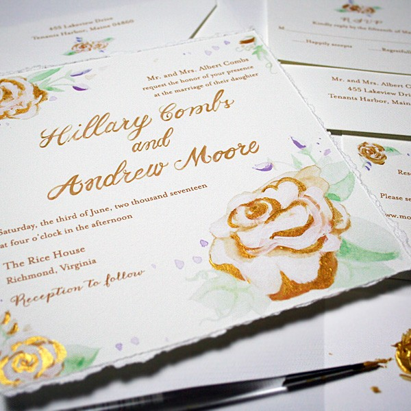 Hand-painted gold metallic sparkling wedding invitations | www.mospensstudio.com