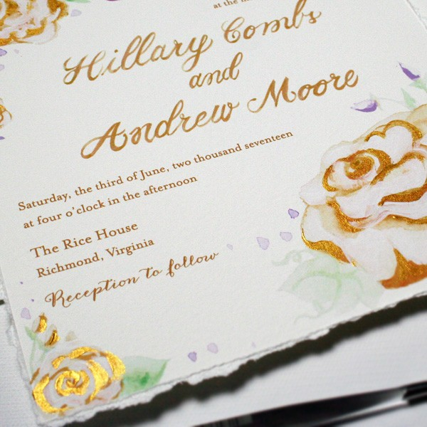Hand-painted gold floral wedding invitations | www.mospensstudio.com