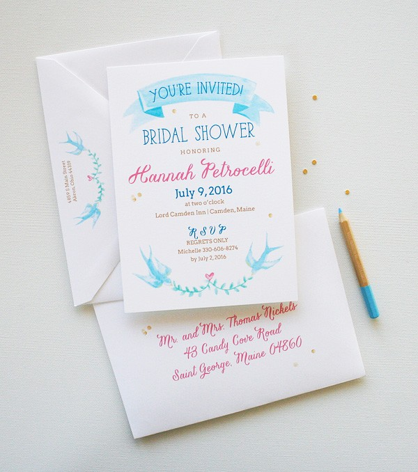 Completely unique blue birds watercolor bridal shower invitations | www.mospensstudio.com