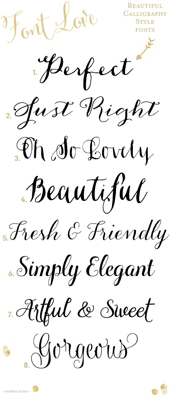 8 Gorgeous calligraphy style fonts | www.mospensstudio.com