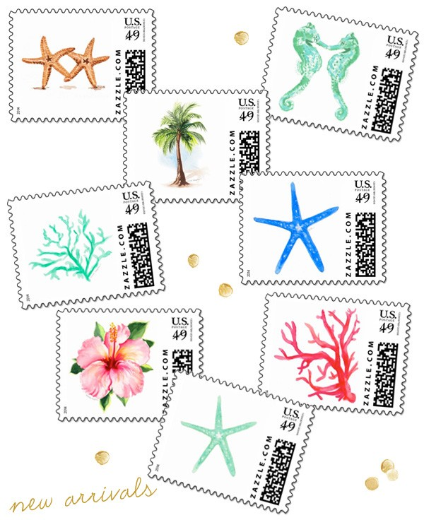 Watercolor custom postage stamps by artist Michelle Mospens | www.mospensstudio.com