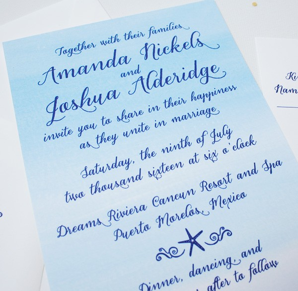 Tropical watercolor beach wedding invitations | www.mospensstudio.com