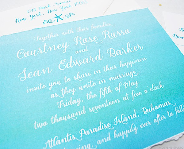Turquoise watercolor beach wedding invitations | www.mospensstudio.com