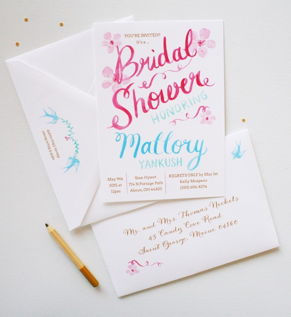 Completely unique watercolor bridal shower invitations | www.mospensstudio.com