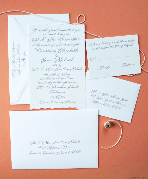 Elegant beach wedding invitations and stationery | www.mospensstudio.com