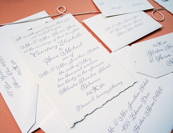 Elegant beach wedding invites | www.mospensstudio.com