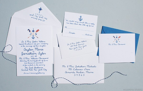 Hand drawn wedding invitations stationery nautical | www.mospensstudio.com