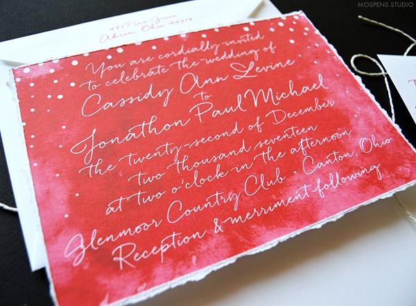 Christmas red winter wedding invitations   www.mospensstudio.com