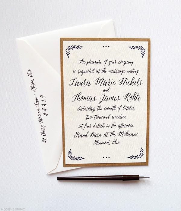 Romantic Rustic Woodland Wedding Invitations | www.mospensstudio.com