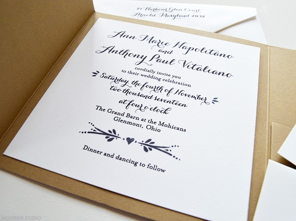 Rustic Wedding Invitations With Hearts | www.mospensstudio.com