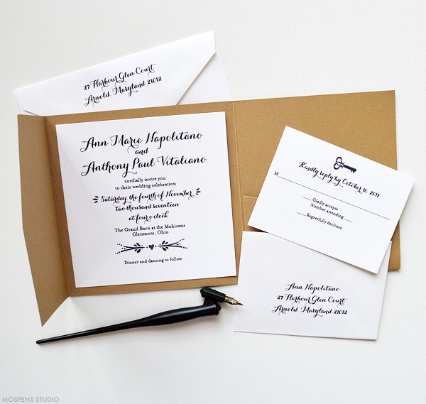 Rustic Wedding Invitations With Vintage Key | www.mospensstudio.com