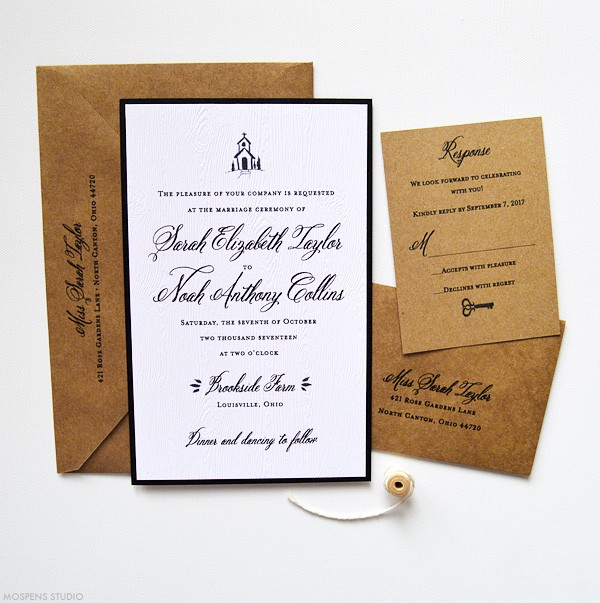 Vintage Country Chapel Rustic Wedding Invitations | www.mospensstudio.com